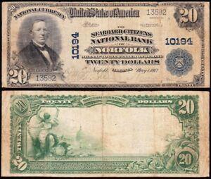 *SCARCE* 1902 $20 NORFOLK, VA National Banknote! Ch. 10194! FREE SHIPPING! 13582