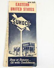 1963 Sunoco Road Map Eastern United States old cars