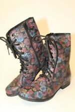 Steve Madden Womens NEW Size 7 M Troopa Floral Leather Lace Up Boots TROO01S1