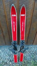 "VINTAGE Wooden 35"" Skis Signed CHALET with RED Finish + Leather Binding"