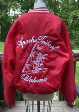 Rare Vintage Howe Apache Indian Tribe Of Oklahoma Red Jacket Satin Large Redbone