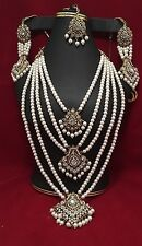 NWOT Mughal Style Polki Kundan Pearl Indian Jewelry Set