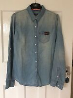 Ladies Size M Pale Distressed Blue Collared Long Sleeve Casual Superdry Shirt
