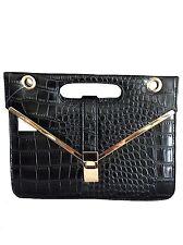 Ladies Black PU Embossed Croc Medium Structured Smart Classic Style Handbag