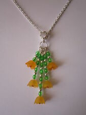 Ladies 16 inch Orange Blossom Necklace, Silver Plated - Orange Lucite Flowers