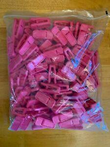 100pcs Plastic Finger Clips Pants Hanger Clip Strong Pinch Grip Hanger Pink