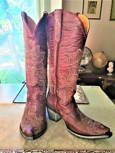 """Old Gringo """"Nicolette"""" Red 15"""" Cowgirl Boots, Size 9"""