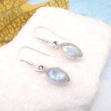 Mondstein blau weiß edel elegant modern Ohrringe, Ohrhänger, 925 Sterling Silber