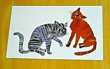 ERIC CARLE ART WORK PRINTED POSTCARD ~ TWO CATS ~ 1989 DESIGN ~ NEW