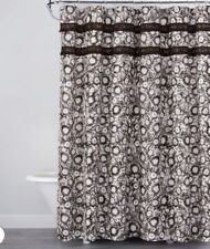 New- OpalHouse Botanical Print with Fringe Shower Curtain Brown/White 72 X 72