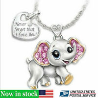Women's Fashion Necklace Jewelry Rhinestone Cute Elephant Shape Pendant Gift