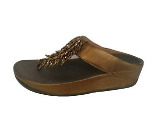 FITFLOP CHA CHA THONG SANDALS BROWN LEATHER Size UK 5 EU 38
