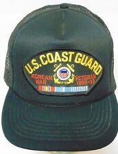 Vintage 1990s US COAST GUARD KOREAN WAR VETERAN USA MILITARY PATCH SNAPBACK HAT