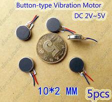 5pcs Round 10mm DC 2v~5v 3V Micro Button-type Vibration thin Vibrator Motor flat