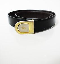 Burberry Original Vintage Clásico para Hombres Cinturón De Cuero Negro