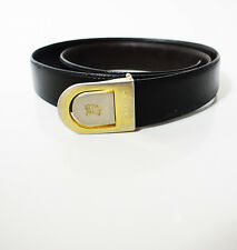 Burberry Original Vintage Classic Mens Leather Belt Black