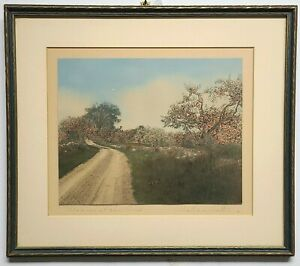 ANTIQUE WALLACE NUTTING FRAMED HAND TINTED PHOTO PRINT PENCIL SIGNED SHIPS FREE