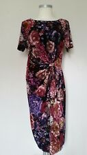 M&S Collection Ladies Floral Knot Front Bodycon Stretchy Wiggle Dress Size 12