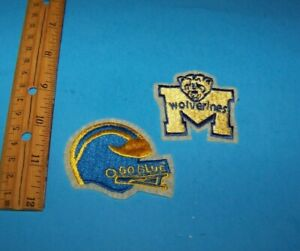 University Of Michigan Embroidered Patches  Vintage 1980's  Go Blue & Wolverines