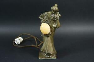 Jugendstil Figurenlampe Bronze Mädchen signiert LAPORTE-BLAISIN (*1867) (CP532)