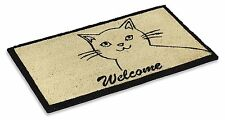 """Vinyl Backed Cute Cat Printed Coco Doormat 0.5"""" Thick - 18 by 30-Inch"""