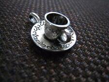 Tibetan silver necklace pendant charm silver 3D coffee mug carved saucer ELGR