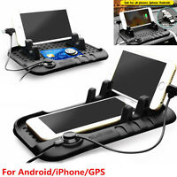 Car Holder Dashboard Stand USB Mount Magnetic Charger Non-Slip Pad for Phone GPS