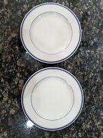 Homer Laughlin Restaurant Ware Rare Blue Stripe - 2 Dinner Plates  #714