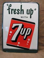 Vintage Huge Embossed Metal 7up Sign > Antique Old Cola Soda Pop Store 7779