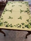 """Vintage 40's Yellow Green Ivy Cotton Blend Rectangle Table 52"""" x 58"""" Tablecloth"""