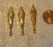THREE Vintage  BRASS   Art DECO   Egyptian REVIVAL  MUMMY Sarcophagus  Findings