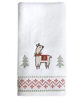 Set Of 2 Festive Llama White Christmas Hand Towels