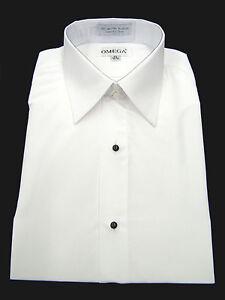 "Microfiber Tuxedo Shirt ""Laydown Collar"", Non pleat, White"