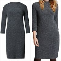 Fa M Ou S High St Store Grey 3/4 Sleeve Funnel Neck Tunic Dress RRP £39.50