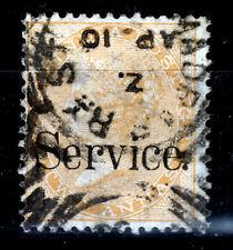 Indien Dienst 18, O, 2 A. gelborange, Viktoria mit Aufdruck Service