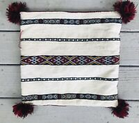 """Vintage Moroccan Handwoven Pillow Cover w/Tassels Boho Cream/Red/Black 15""""X15"""""""