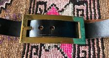 Vintage Black Leather Belt w/Huge Gold Buckle Fits 29�-31�
