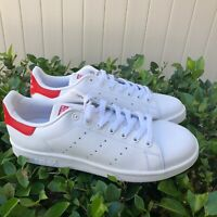 ADIDAS STAN SMITH MEN'S LEATHER LOWTOP WHITE/RED CASUAL SNEAKER M20326 US SIZE 8