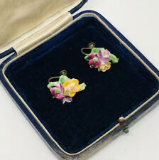 Vintage Earrings Screw On  Bone China Made In England Floral Spray Pretty Kitsch