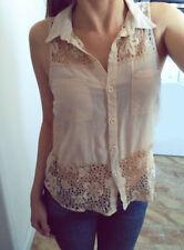 TK MAXX cream sleeveless button through shirt crochet lace insert UK 6-8 MINT