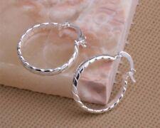 925 Sterling Silver Plated Twist Hoops Earrings + Free Gift Bag.