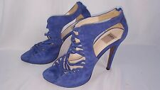 Zara Collection Royal Blue Strappy Suede Leather High Heels Sz 7 US, Sz 38 EU
