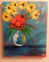 original abstract flowers painting 16x20 canvas