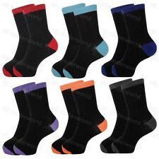 6 Pairs Girls Boys Childrens Black Socks With Coloured Heels Toes Tops