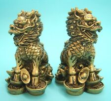 Pair of Golden Feng Shui Chi Lin QiLin Kei Loons Dragon Horse Heavenly Unicorn