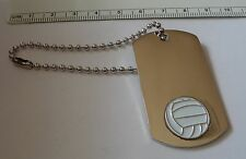 "6"" Bead chain Volleyball Engravable ID Luggage Sports bag Tag Keyring Base Metal"