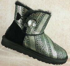 UGG Baily Bling Black Silver Suede Leather Shearling Lined Ankle Boots Women's 7