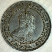 1906 Copper Canadian Large Cent Coin 1-Cent Canada AU K9