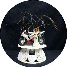 Motorcycle Black African-American Wedding Cake topper ornament centerpiece tree