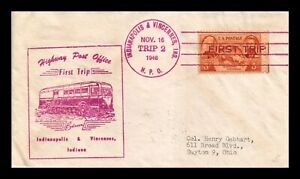 DR JIM STAMPS US INDIANAPOLIS VINCENNES HIGHWAY POST OFFICE COVER HPO FIRST TRIP